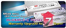 MEAN WELL HLG & HLG-C Series LED Power Supplies Warranty Upgraded to 7 Years