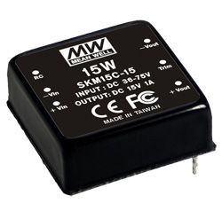15W Single Output 36-75VDC Input DC-DC Regulated Converter