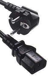 IEC320 C13 to Shuko Euro Plug Mains Lead, 2 Metre