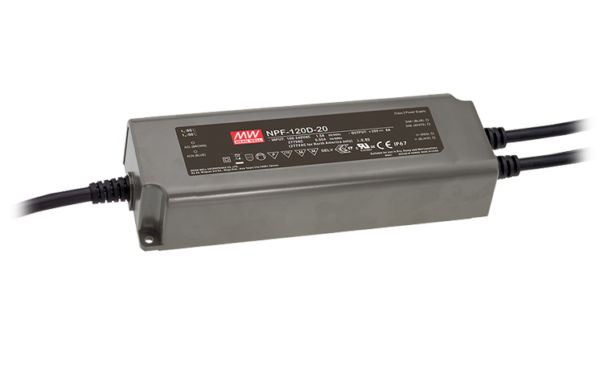 NPF-120D-35-BE IP67 Rated 35V 120W Single Output LED Driver with 3 in 1 dimming and Auxiliary DC Output